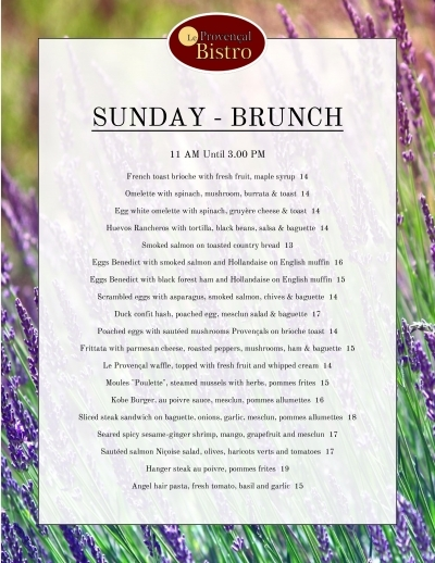 Saturday and Sunday Brunch